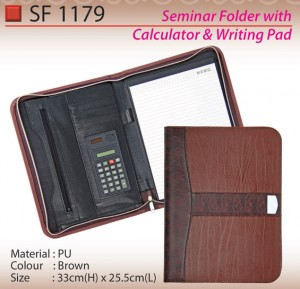 PU-seminar-folder-with-calculator&writing-pad-SF1179